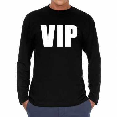 Goedkope long sleeve t shirt zwart met vip bedrukking voor heren