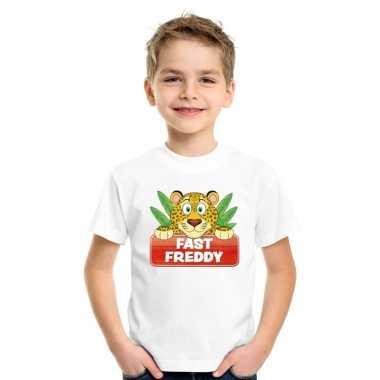 Goedkope luipaarden dieren t shirt wit voor kinderen