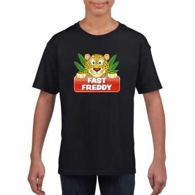 Goedkope luipaarden dieren t shirt zwart voor kinderen