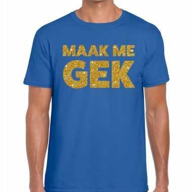 Goedkope maak me gek fun t shirt blauw voor heren
