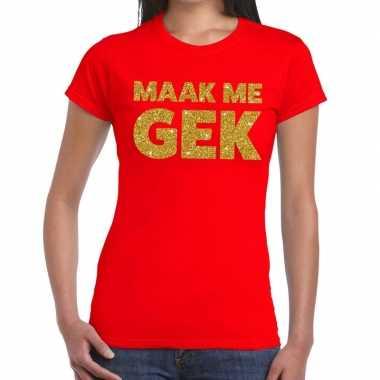 Goedkope maak me gek fun t shirt rood voor dames