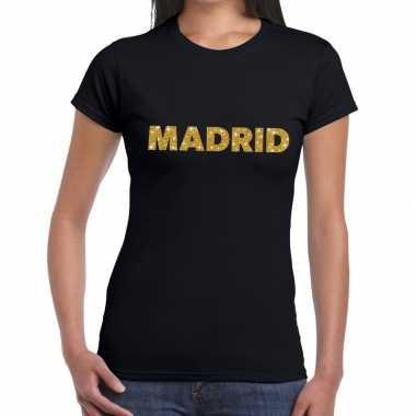 Goedkope madrid gouden letters fun t shirt zwart voor dames