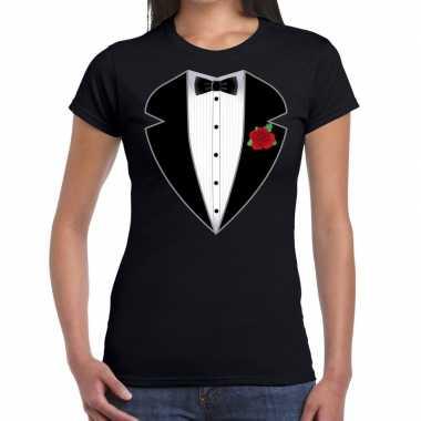 Goedkope maffiosi verkleedkleren t shirt zwart voor dames