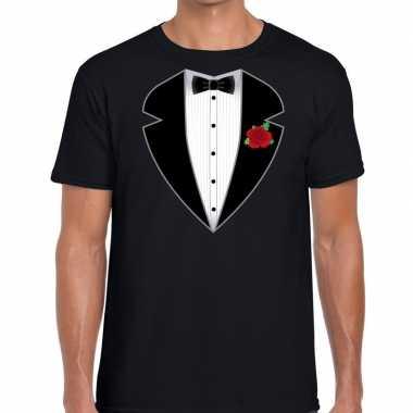 Goedkope maffiosi verkleedkleren t shirt zwart voor heren