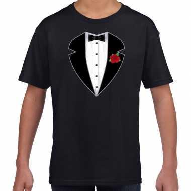 Goedkope maffiosi verkleedkleren t-shirt zwart voor kinderen