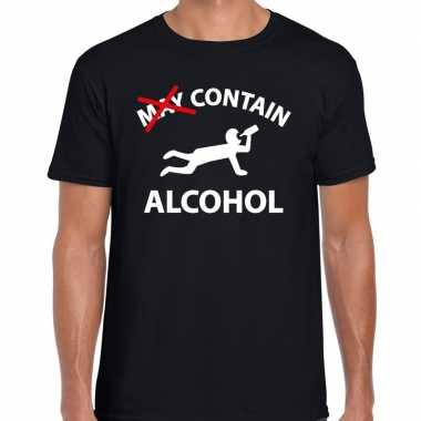 Goedkope may contain alcohol fun shirt zwart voor heren drank thema