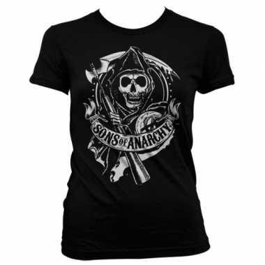 Goedkope merchandise sons of anarchy shirt dames zwart
