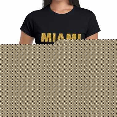 Goedkope miami gouden letters fun t shirt zwart voor dames