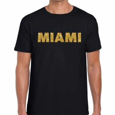 Goedkope miami gouden letters fun t shirt zwart voor heren