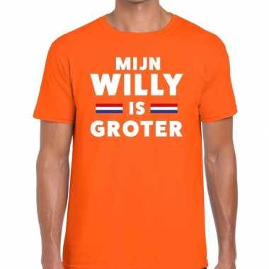 Goedkope mijn willy is groter t shirt oranje heren