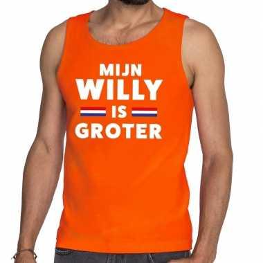 Goedkope mijn willy is groter tanktop / mouwloos shirt oranje heren