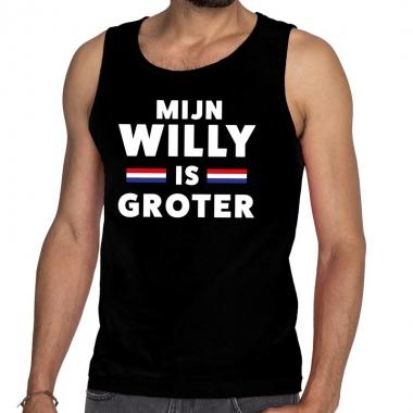 Goedkope mijn willy is groter tanktop / mouwloos shirt zwart heren