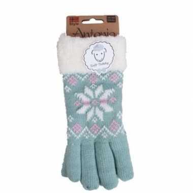 Goedkope mintgroene winterhandschoenen nordic voor dames