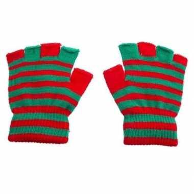 Goedkope mofjes handschoenen in rood groenkleur one size