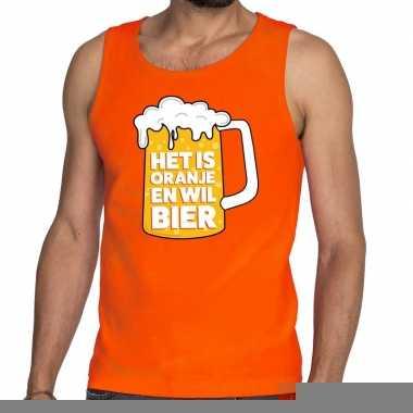 Goedkope mouwloos shirt oranje met tekst het is oranje en wil bier he