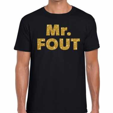 Goedkope mr. fout gouden letters fun t shirt zwart voor heren