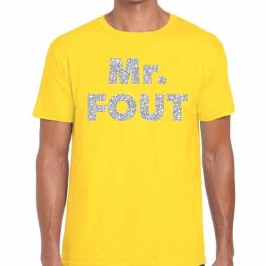Goedkope mr. fout zilveren letters fun t shirt geel voor heren