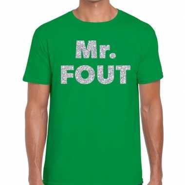 Goedkope mr. fout zilveren letters fun t shirt groen voor heren