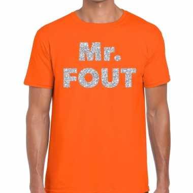 Goedkope mr. fout zilveren letters fun t shirt oranje voor heren