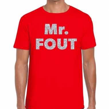 Goedkope mr. fout zilveren letters fun t shirt rood voor heren