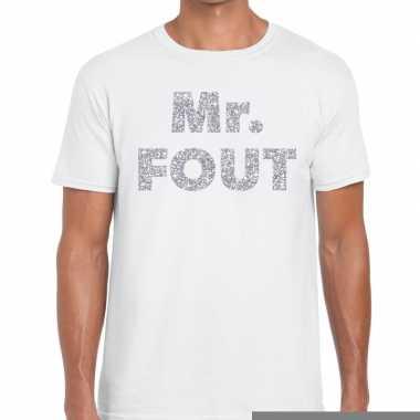 Goedkope mr. fout zilveren letters fun t shirt wit voor heren