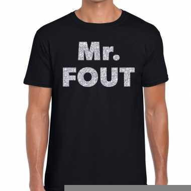 Goedkope mr. fout zilveren letters fun t shirt zwart voor heren