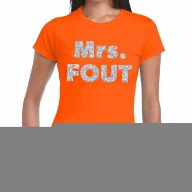 Goedkope mrs. fout fun t shirt oranje met zilver voor dames