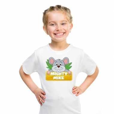 Goedkope muizen dieren t shirt wit voor kinderen