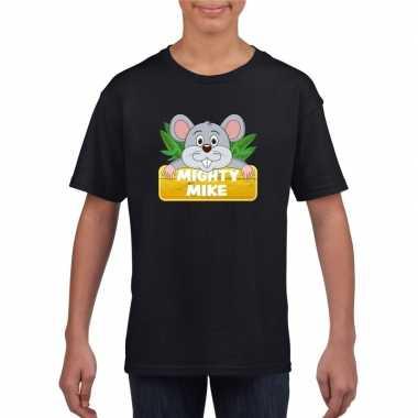Goedkope muizen dieren t shirt zwart voor kinderen