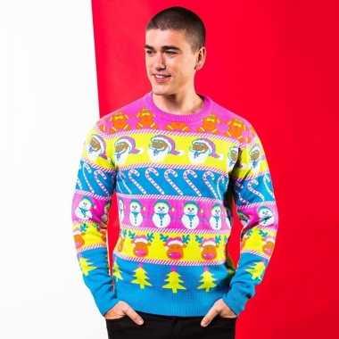 Goedkope multikleuren kerst trui voor heren
