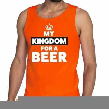 Goedkope my kingdom for a beer mouwloos shirt oranje voor heren