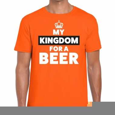Goedkope my kingdom for a beer t shirt oranje voor heren