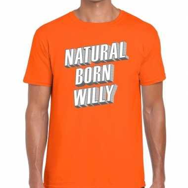 Goedkope natural born willy t shirt oranje heren