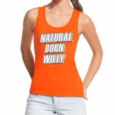 Goedkope natural born willy tanktop / mouwloos shirt oranje dames