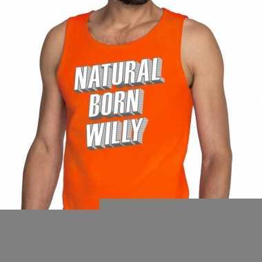 Goedkope natural born willy tanktop / mouwloos shirt oranje heren