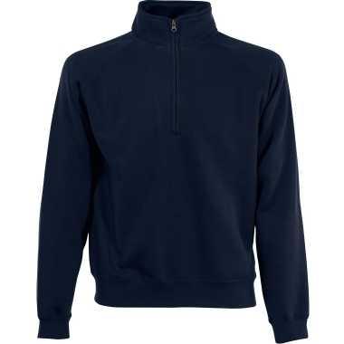 Goedkope navy blauwe fleecetrui/fleecesweater voor heren