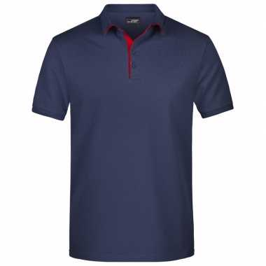 Goedkope navy blauwe premium poloshirt golf pro voor heren