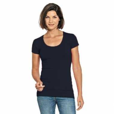 Goedkope navy blauwe shirt met ronde hals voor dames