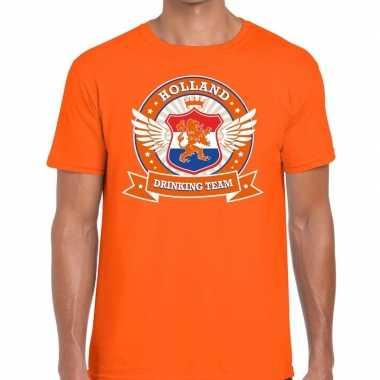 Goedkope nederland drinking team t shirt oranje heren