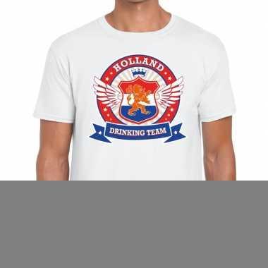 Goedkope nederland drinking team t shirt wit rwb heren