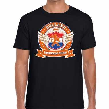 Goedkope nederland drinking team t shirt zwart heren