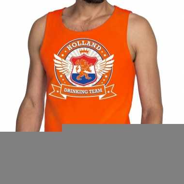 Goedkope nederland drinking team tankop / mouwloos shirt oranje heren