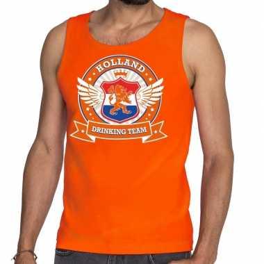Goedkope nederland drinking team tankop / mouwloos shirt oranje rwb h