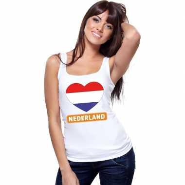Goedkope nederland hart vlag mouwloos shirt wit dames