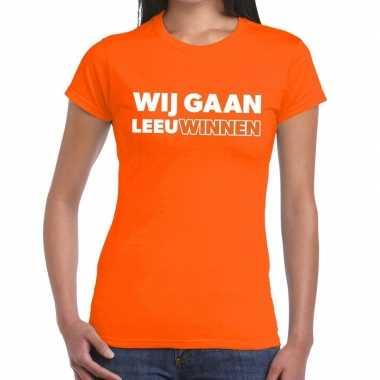 Goedkope nederlands elftal supporter shirt wij gaan leeuwinnen oranje