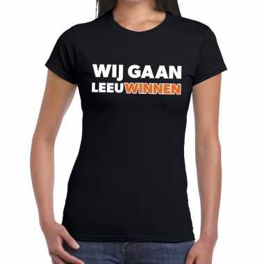 Goedkope nederlands elftal supporter shirt wij gaan leeuwinnen zwart