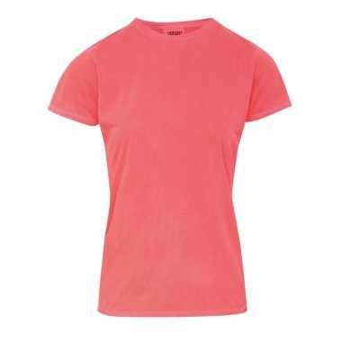 Goedkope neon oranje dames t shirts met ronde hals