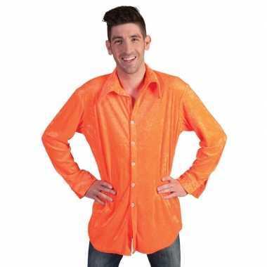 Goedkope neon oranje velours overhemd voor heren