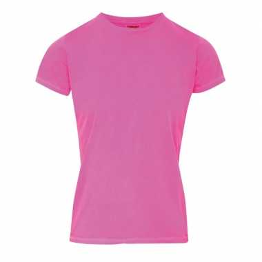 Goedkope neon roze dames t shirts met ronde hals
