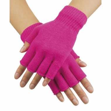 Goedkope neon roze vingerloze verkleed handschoenen gebreid voor volwassenen unisex